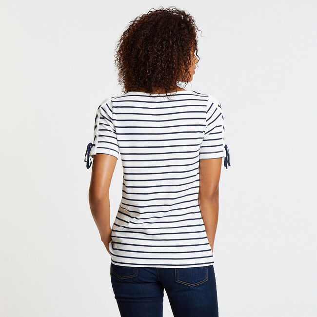 Striped Lace-Up Sleeve Top,Marshmallow,large