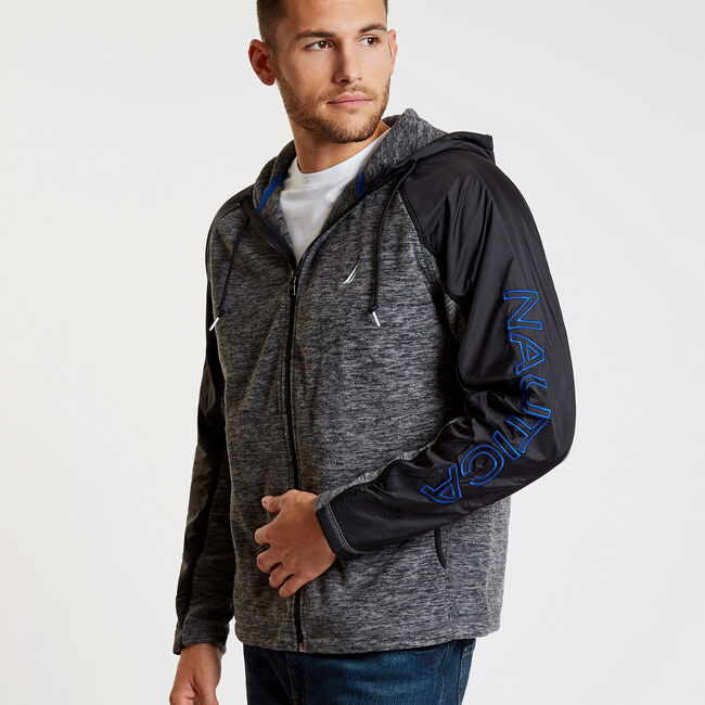 Colorblock Logo Full-Zip Nautex Hoodie,Charcoal Heather,large