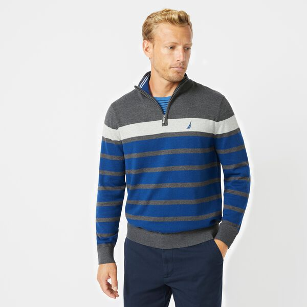 NAVTECH COLORBLOCK-STRIPED QUARTER-ZIP SWEATER - Charcoal Heather