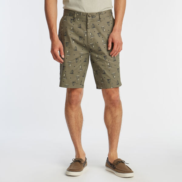 "8.5"" SLIM FIT DOT AND SAILBOAT PRINT SHORTS - Hillside Olive"