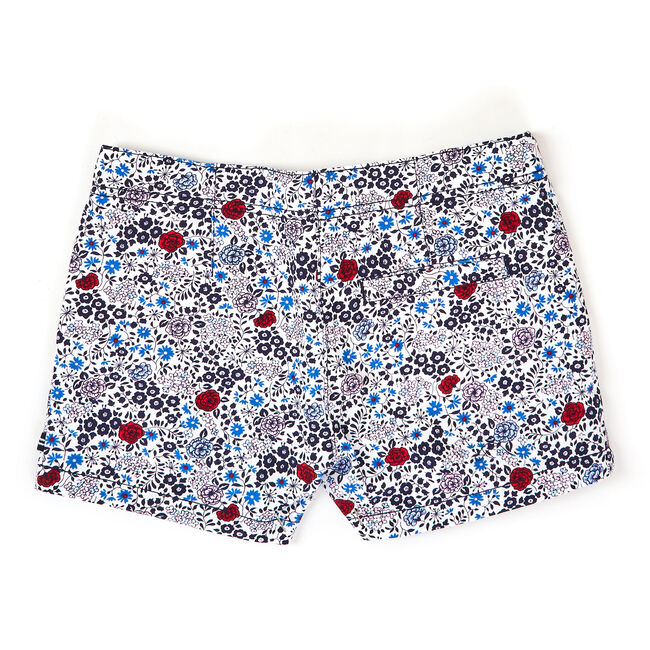 Toddler Girls' Floral Twill Shorts (2T-4T),Navy,large