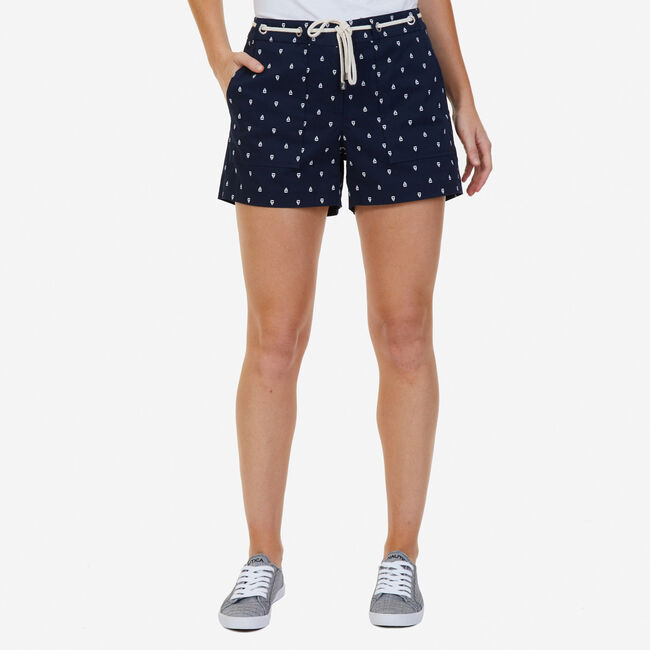 """Sailboat Shorts with Rope Belt - 4"""" Inseam,Deep Sea,large"""