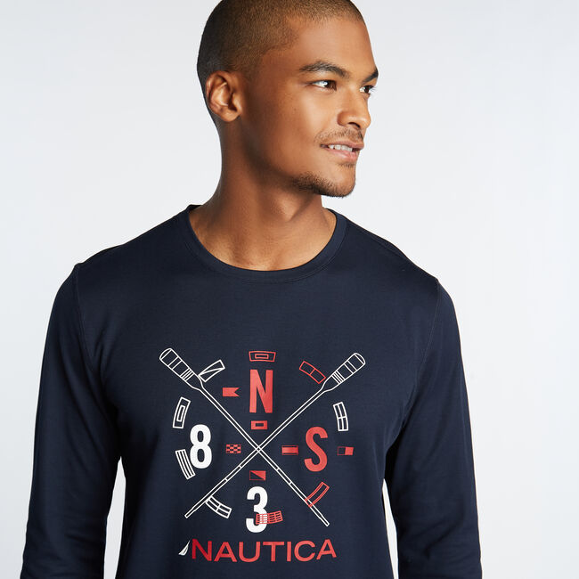 SUPER SOFT LONG SLEEVE OARS TEE,Navy,large