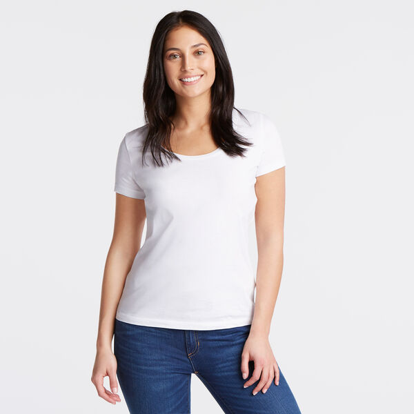 Scoop-Neck Solid T-Shirt - Bright White