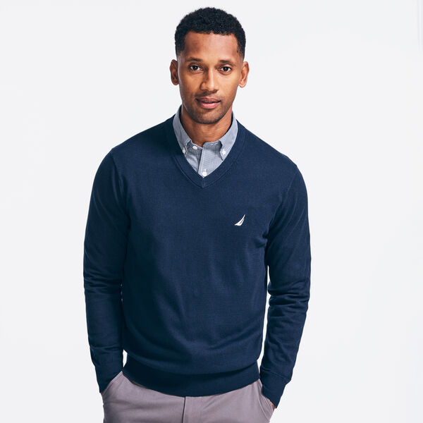NAVTECH V-NECK SWEATER - Navy