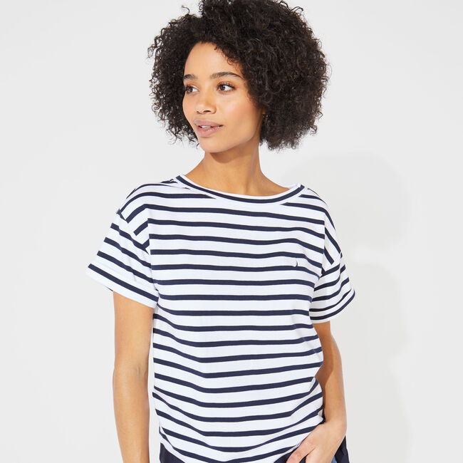 STRIPED TIE WAIST KNIT TOP,Bright White,large