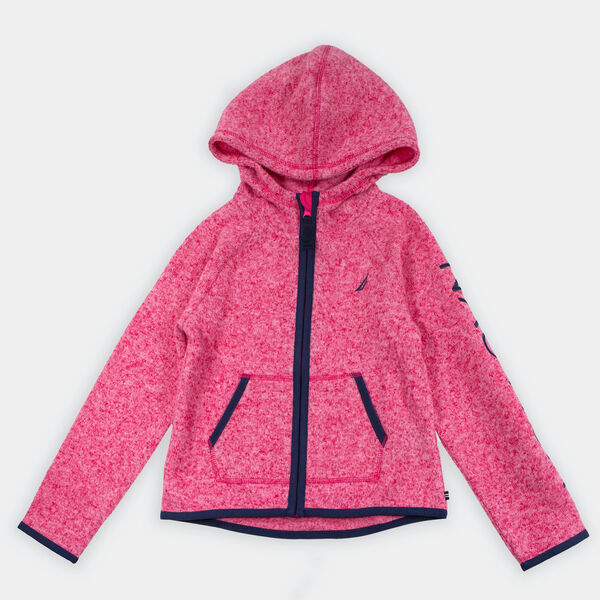 LITTLE GIRLS' LOGO HOODED NAUTEX FLEECE (4-7) - Cardinal