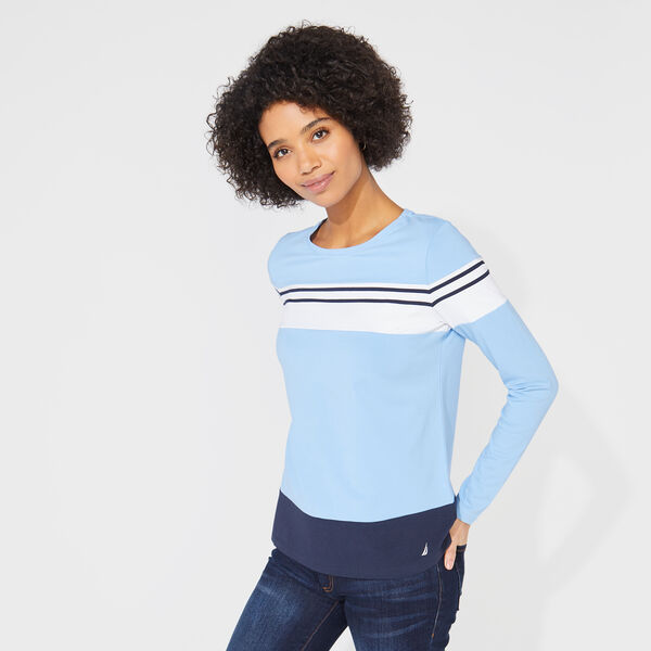 COLORBLOCK STRIPED KNIT TOP - Bolt Blue