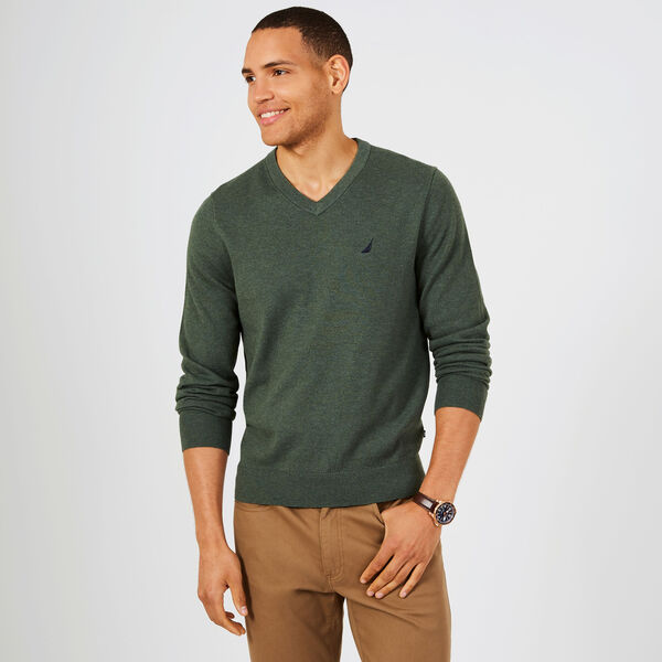 Big & Tall Jersey V-Neck Sweater - Pine Forest Heather