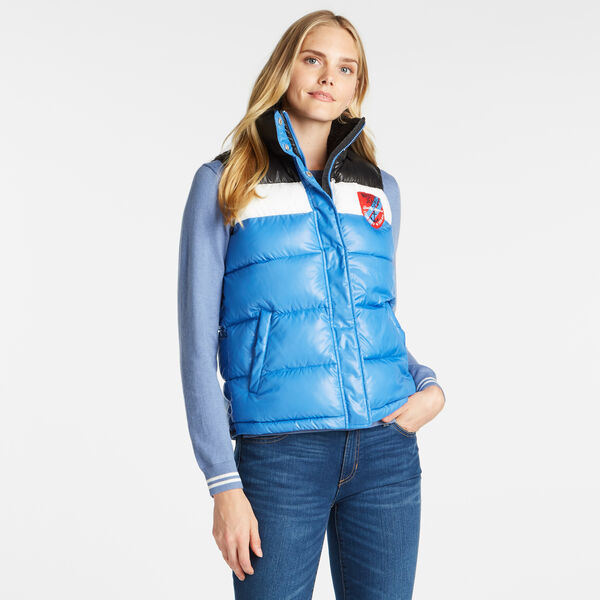 COLORBLOCK PUFFER VEST - Distressed Blue Wash