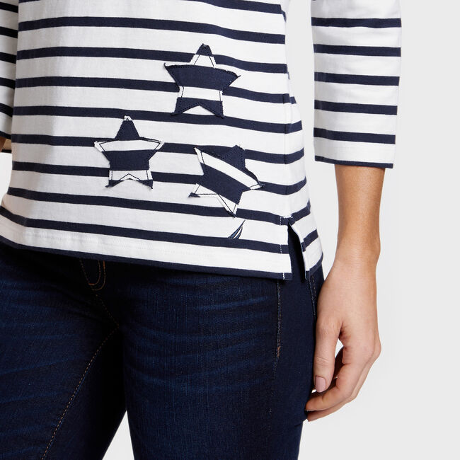 Iconic Sail Striped Top with Stars,Marshmallow,large