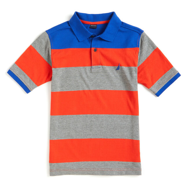 Little Boys' Locker Heather Bold Stripe Polo (4-7),Imperial Blue,large