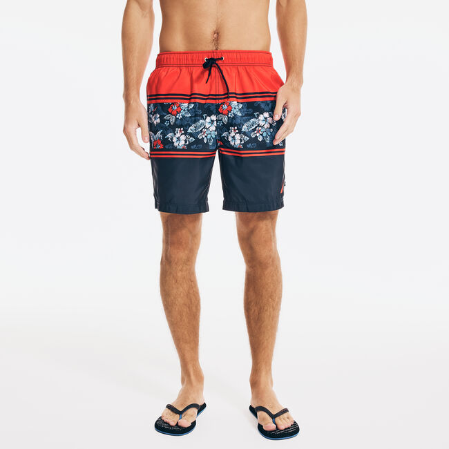 """8"""" STRIPED FLORAL PRINT QUICK-DRY SWIM,Firey Red,large"""