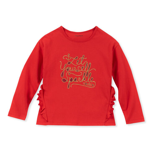 Girls' Let Yourself Sparkle Long Sleeve Tee (7-16) - Nautica Red/Orange