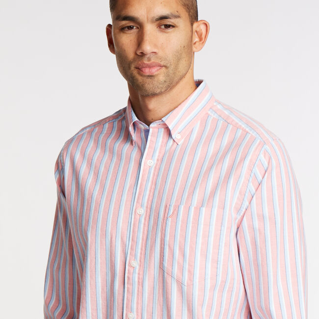 Long Sleeve Classic Fit Oxford Shirt,Spiced Coral,large