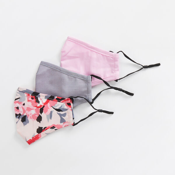 FLORAL AND SOLID REUSABLE FACE MASK, 3 PACK - Multi