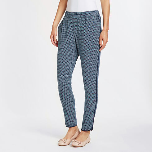 Diamond Motif Ankle Track Pants - Deep Sea
