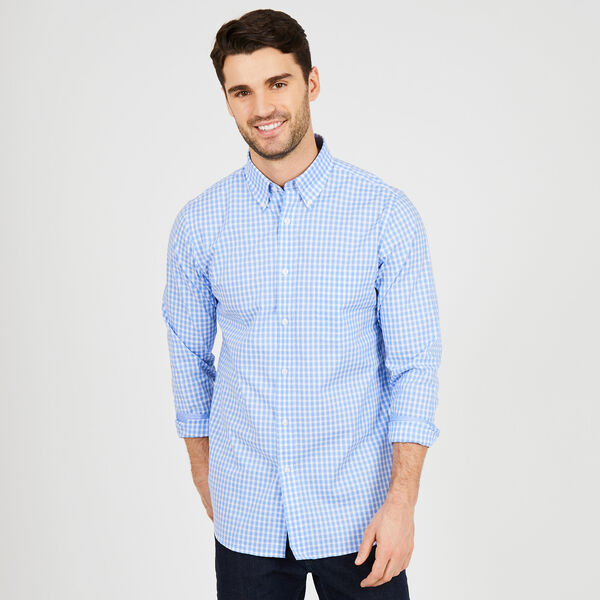 Iron-Free Check Classic Fit Long Sleeve Shirt - Sport Navy