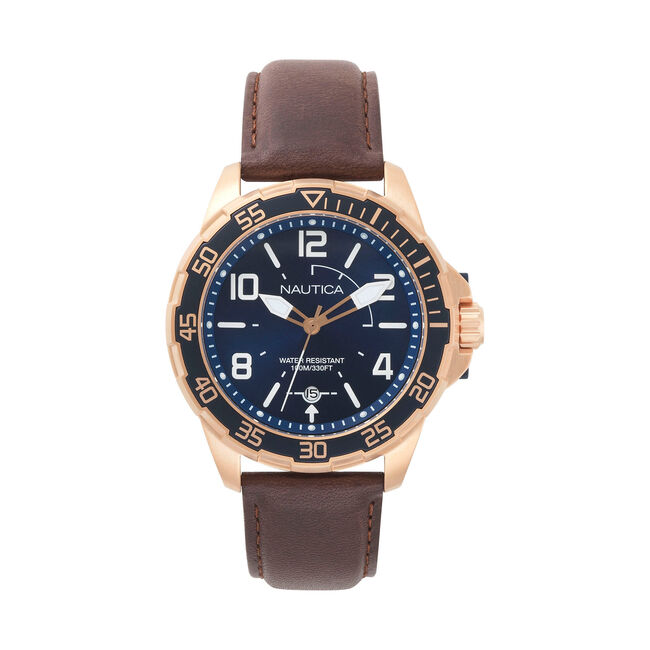 Pilot House Leather Watch - Navy Dial,Ice Blue,large