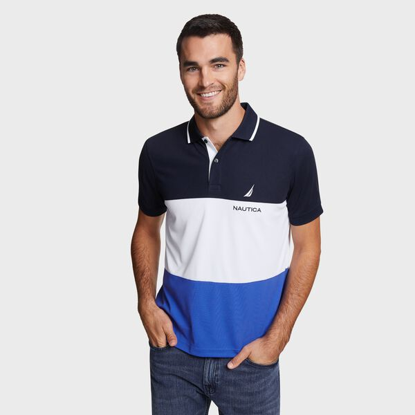 Classic Fit Navtech Colorblock Polo - Navy