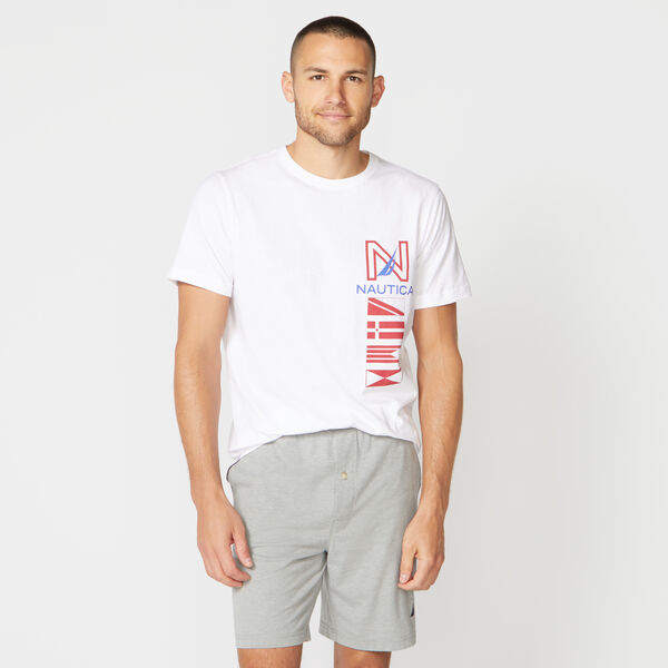FLAG PRINT SLEEP T-SHIRT - Bright White