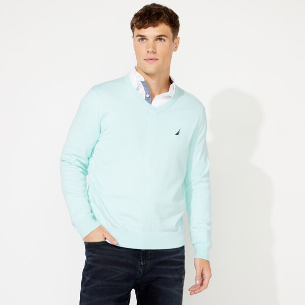 BIG & TALL NAVTECH V-NECK SWEATER - Aquabreeze
