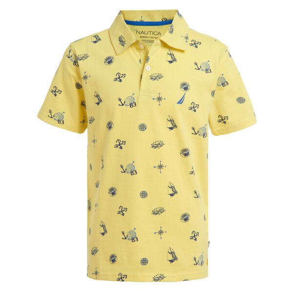 BOYS' ANCHOR PRINT POLO (8-20) - Cabana Yellow