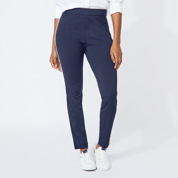 SIDE PIPING PONTE PANTS - Stellar Blue Heather