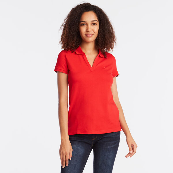 SPLIT NECK POLO SHIRT - Tomales Red