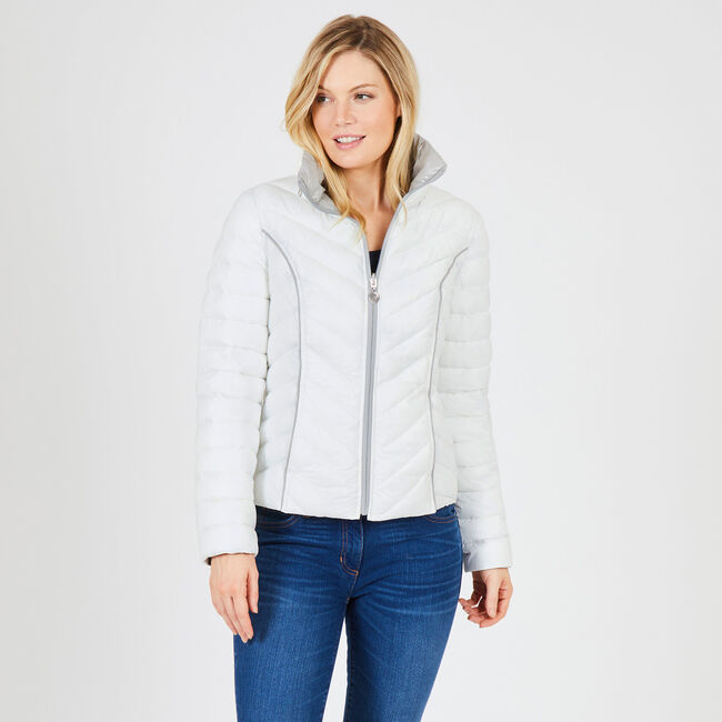 Reversible Packable Puffer Jacket,Bright White,large