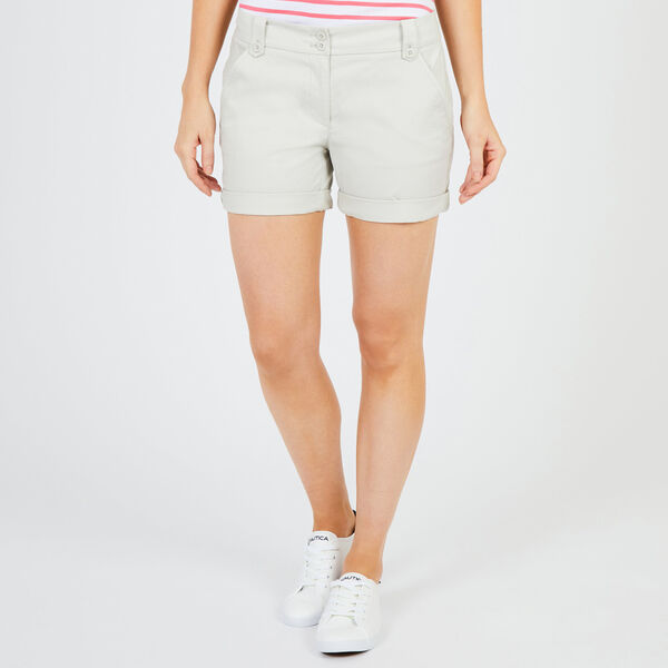 "Flat Front Stretch Twill Shorts - 7"" Inseam - Moon Rock"