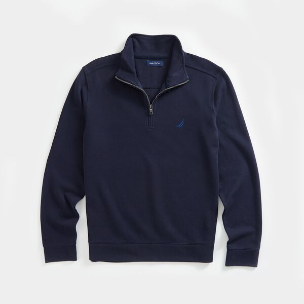 QUARTER-ZIP FRENCH RIBBED SWEATSHIRT - Navy