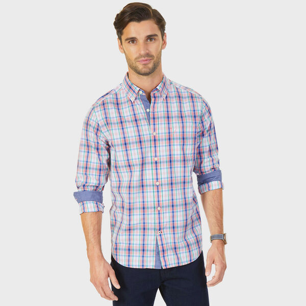 Plaid Classic Fit Button-Down Shirt - Flame Red