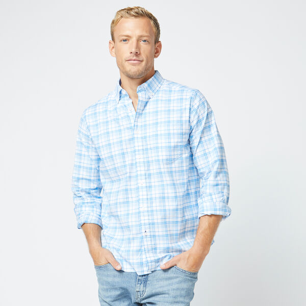 CLASSIC FIT LONG SLEEVE PLAID OXFORD SHIRT - Varsity Blue Wash