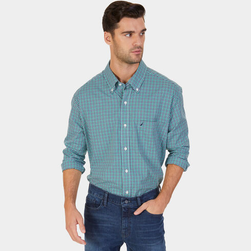 Big & Tall Marine Plaid Long Sleeve Shirt - Verdant Green