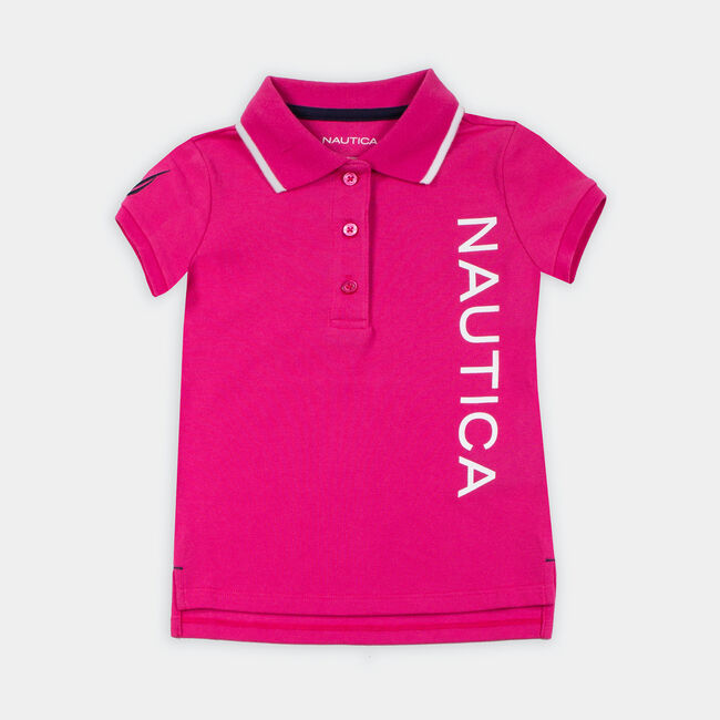 TODDLER GIRLS' LOGO GRAPHIC POLO (2T-4T),Lure Red,large