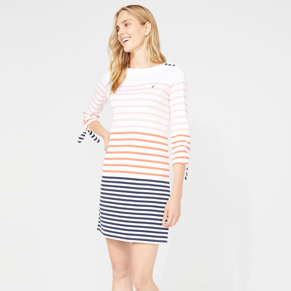 THREE-QUARTER SLEEVE STRIPE KNIT DRESS - Bright White