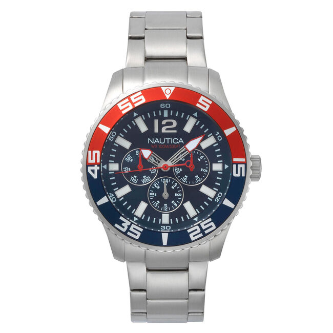 White Cap Multifunction Watch,French Blue,large