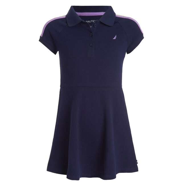 GIRL'S COLORBLOCK SLEEVE POLO DRESS (4 - 6),Navy,large