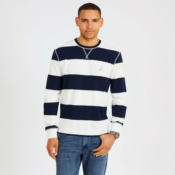 Rugby Stripe Crewneck Sweater - Marshmallow