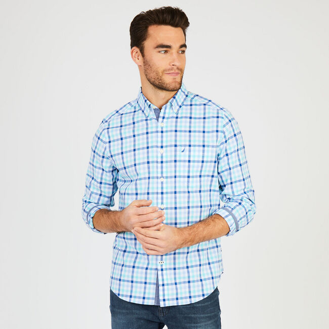 Big & Tall Check Classic Fit Long Sleeve Shirt,Sapphire,large