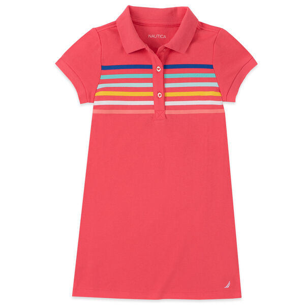 TODDLER GIRLS' MULTICOLOR STRIPED POLO DRESS (2T-4T) - Light Pink