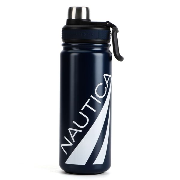 OVERSIZED LOGO DOUBLE-WALLED STAINLESS STEEL BOTTLE - Navy
