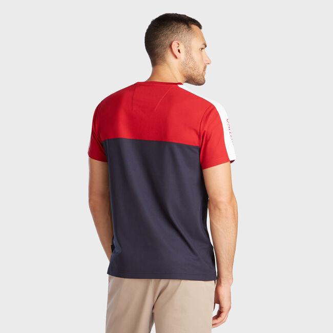 PIECED COLORBLOCK PERFORMANCE T-SHIRT,Nautica Red,large