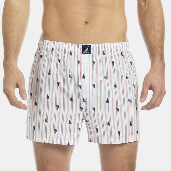 Woven Boxer in Stripe & Sailboat Print - Vanilla