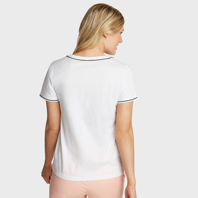 Embroidered Knit Tee,Bright White,large