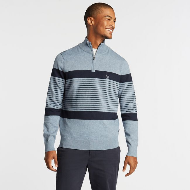 NAVTECH STRIPED QUARTER-ZIP SWEATER,Anchor Blue Heather,large