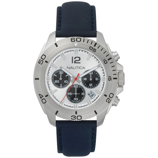 Andover Chronograph Silver Dial Watch - Navy - Multi