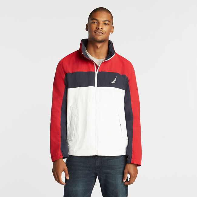 LIGHTWEIGHT JACKET IN COLORBLOCK,Nautica Red,large