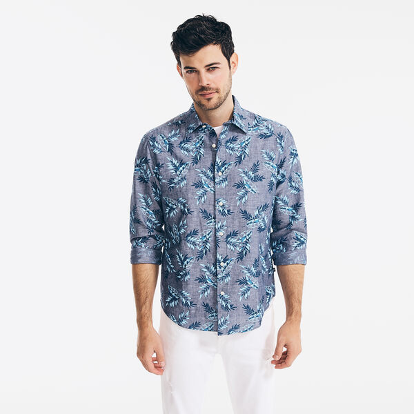 TROPICAL FOLIAGE PRINT LINEN SHIRT - J Navy